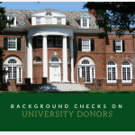 Background checks on university donors